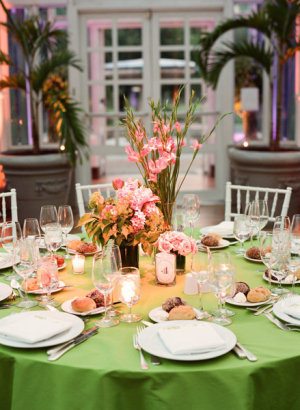 Pink and Citrus Green Reception Table Decor