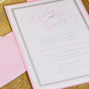 Pink and Gold Glitter Wedding Stationery