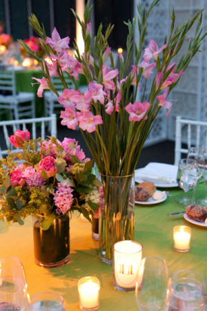 Pink and Green Reception Centerpieces