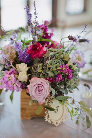 Pink and Purple Wildflower Arrangement in Wooden Box