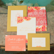Pink and Yellow Floral Wedding Stationery