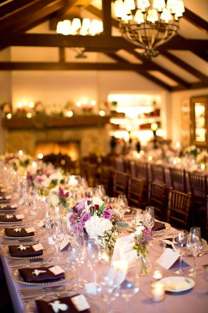 Plum Lavender and Cream Reception Decor