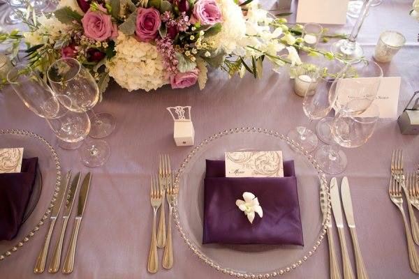 Plum and Lavender Reception Place Settings