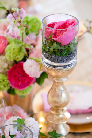 Potted Flowers on Gold Candlestick