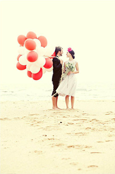 Red and White Wedding Balloons
