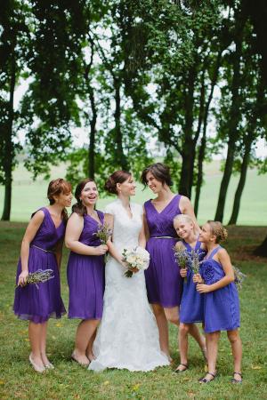 Short Purple Bridesmaids Dresses
