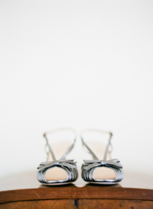 Silver Bridal Heels With Bows