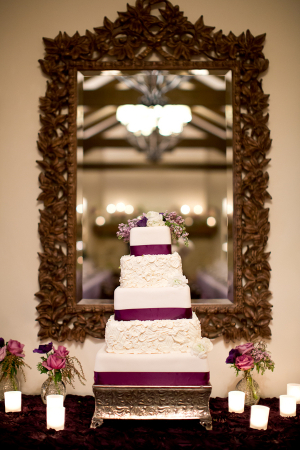 Square Wedding Cake With Plum and Lavender Accents