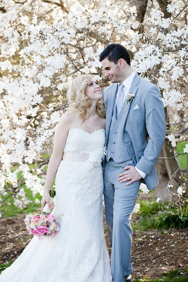 Strapless Bridal Gown With Floral Sash
