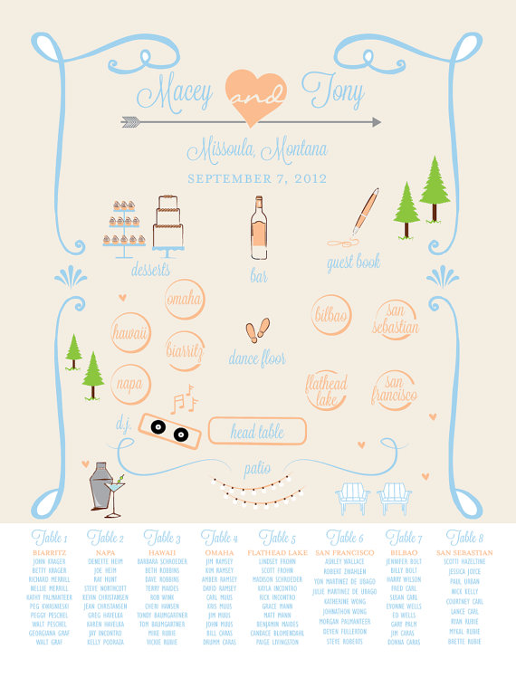 Sweet Graphic Wedding Seating Chart
