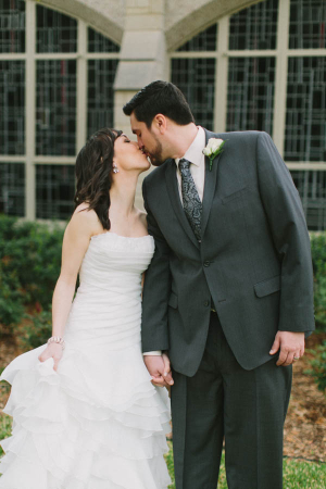 Textured Ruffled Strapless Bridal Gown