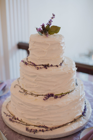 Textured Wedding Cake With Lavender