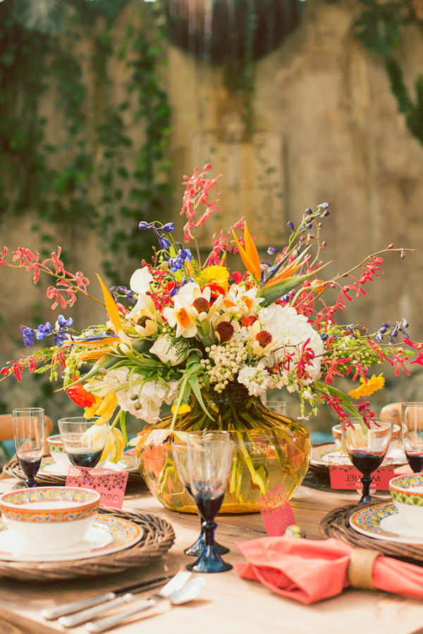 Tropical Centerpiece in Yellow Vase