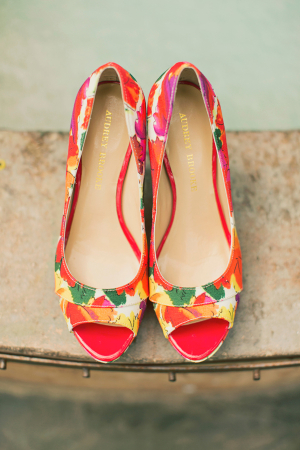 Tropical Floral Print Wedding Shoes