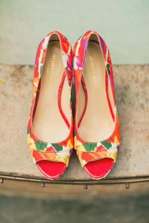 Tropical Floral Print Wedding Shoes