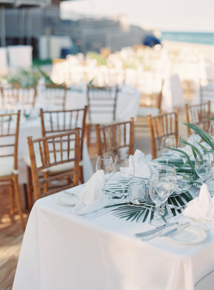 Tropical Frond Wedding Centerpiece