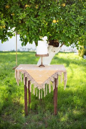 Two Tier Wedding Cake on Wood Table