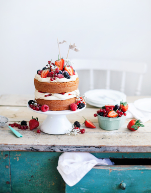 Unfrosted Cake with Berries