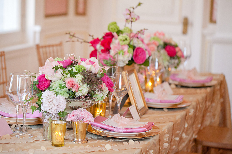 Pink And Yellow Table Decorations