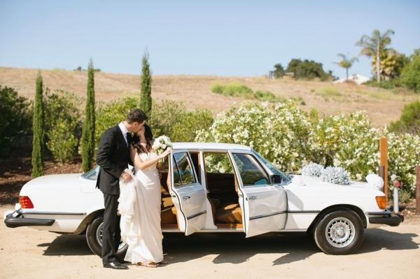 Vintage White Mercedes Getaway Car