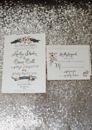 Watercolor Floral Motif Wedding Invitation