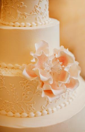 Wedding Cake With Pink Sugar Flowers