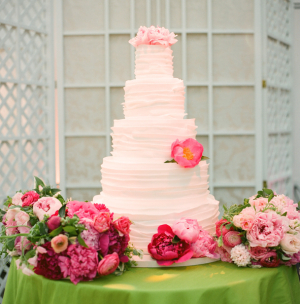 Wedding Cake With Ruffle Icing Details