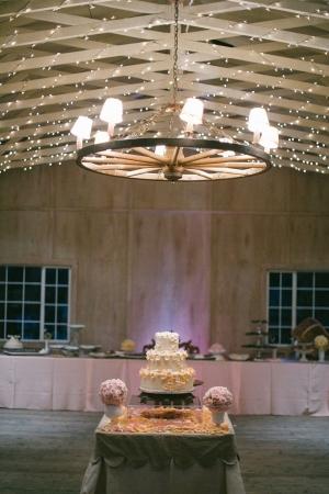 Wedding Cake on Rustic Barn Table