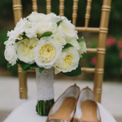 White Bouquet With Lace Wrap