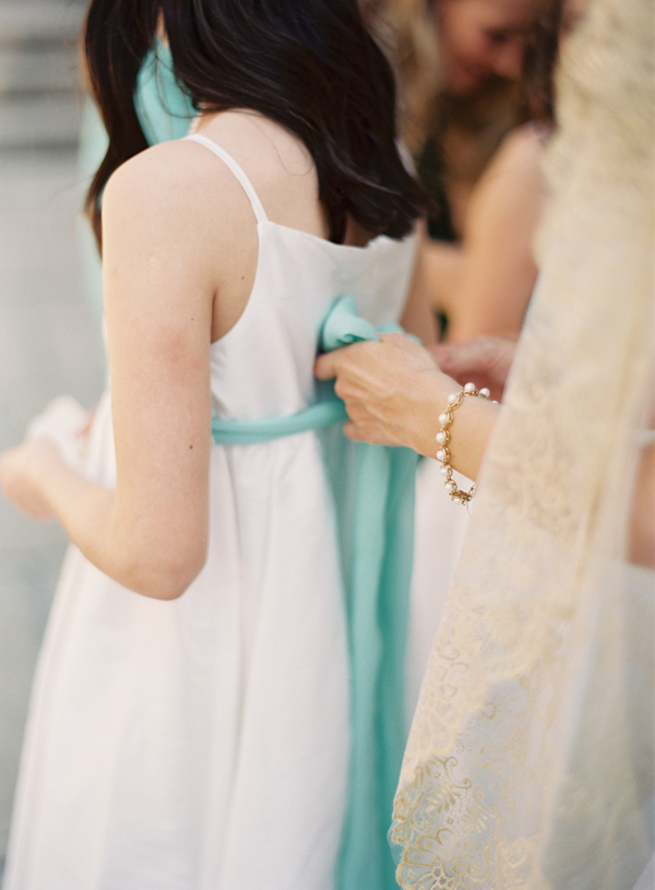 White Dress With Tiffany Blue Sash