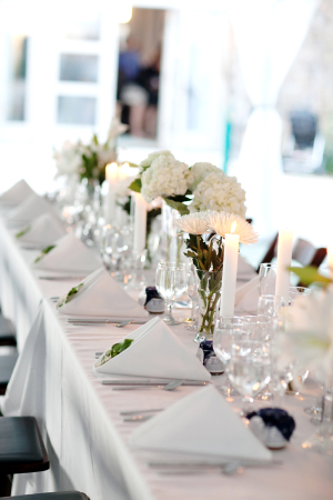 White Navy Reception Decor