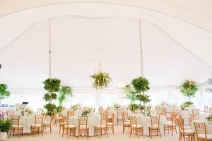 White Tent Reception With Hanging Plants