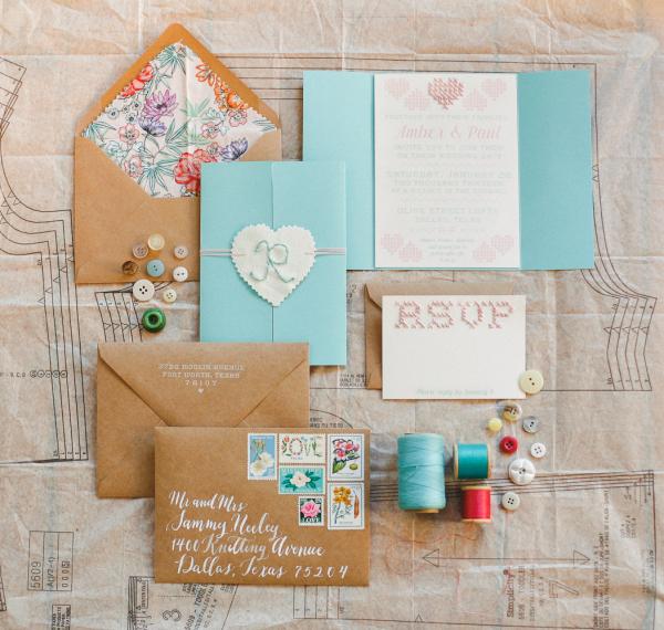 Yarn and Thread Themed Wedding Invitations