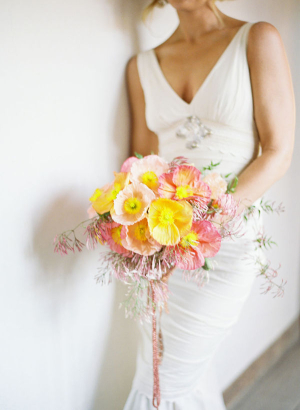 Yellow Pink Poppy Bouquet