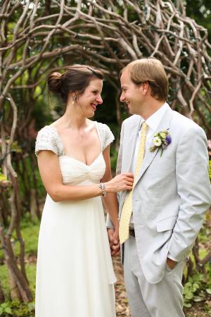 Beaded Cap Sleeve Wedding Gown