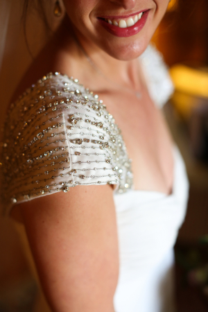 Beaded Cap Sleeve on Wedding Gown