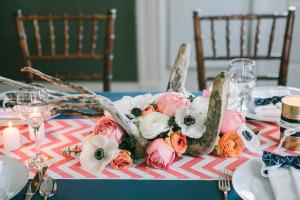 Birch Branch Poppy and Rose Centerpiece