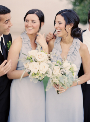 Blue Gray Bridesmaids Dresses