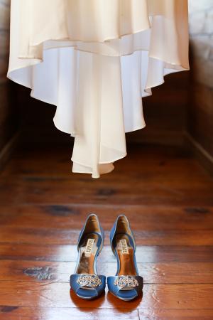 Blue Peep Toe Wedding Shoes