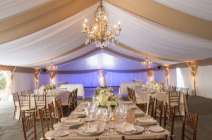 Blush and Cream Reception Tent With Chandeliers