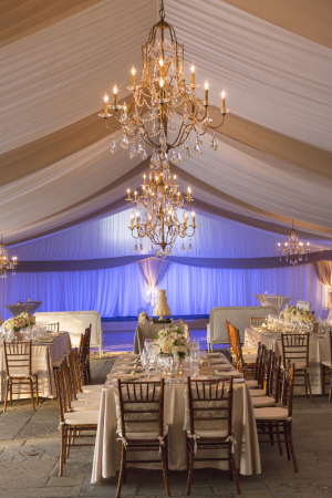 Blush and Cream Reception Tent With Gold Chandeliers