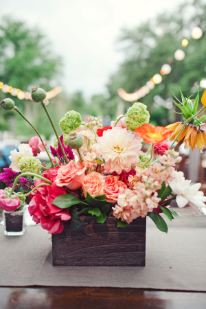 Bold Flowers in Rustic Container