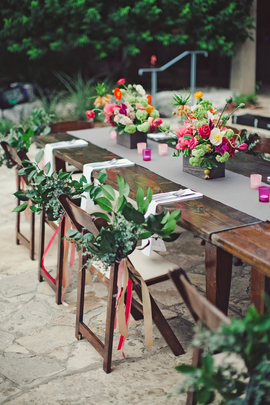 Bold Garden Flower Arrangements In Wooden Bo Elizabeth Anne Designs The Wedding Blog