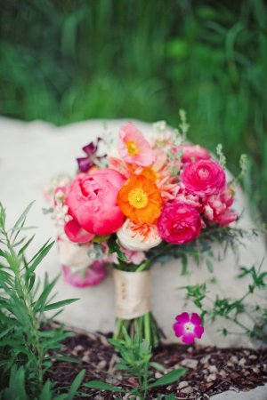 Bold Peony Poppy and Ranunculus Bouquet