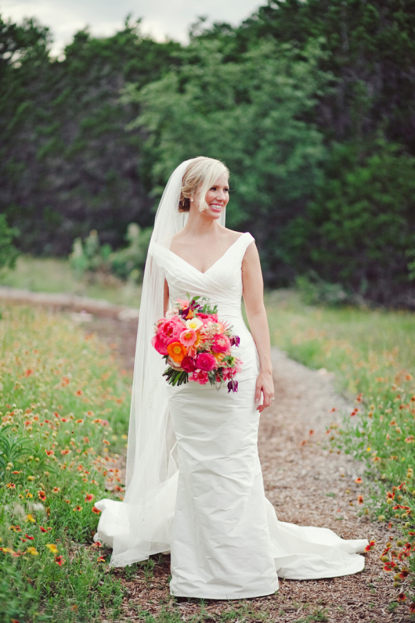 Bold Pink and Orange Bridal Bouquet