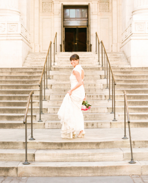 Bridal Portrait on NYC Library Steps