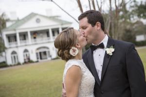Bride and Groom Kissing at Charleston Plantation