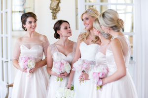 Bridesmaids in Classic White Dresses