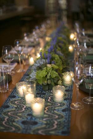 Bright Blue and Lavender Tablescape