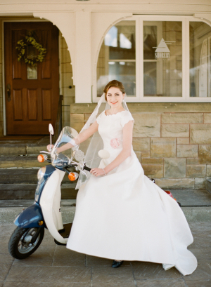 Cap Sleeve Bridal Gown With Rosette on Waist